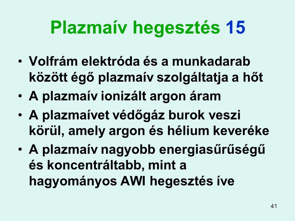 Plazmaív hegesztés 15 Volfrám elektróda és a munkadarab között égő plazmaív szolgáltatja a hőt. A plazmaív ionizált argon áram.
