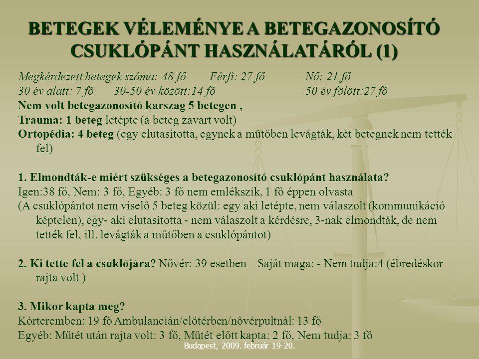 BETEGEK VÉLEMÉNYE A BETEGAZONOSÍTÓ CSUKLÓPÁNT HASZNÁLATÁRÓL (1)