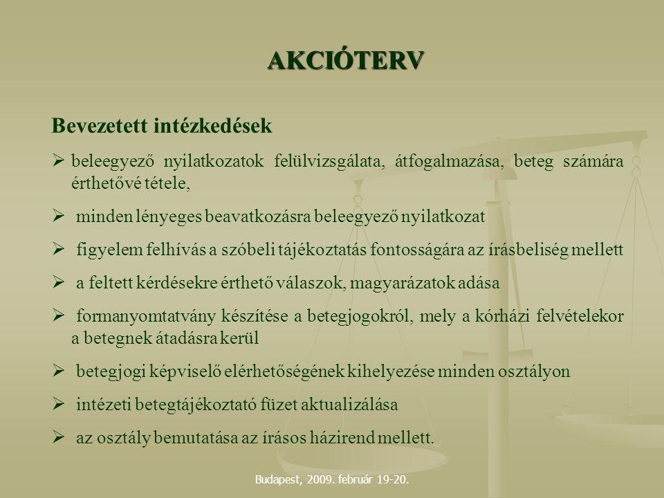 AKCIÓTERV Bevezetett intézkedések