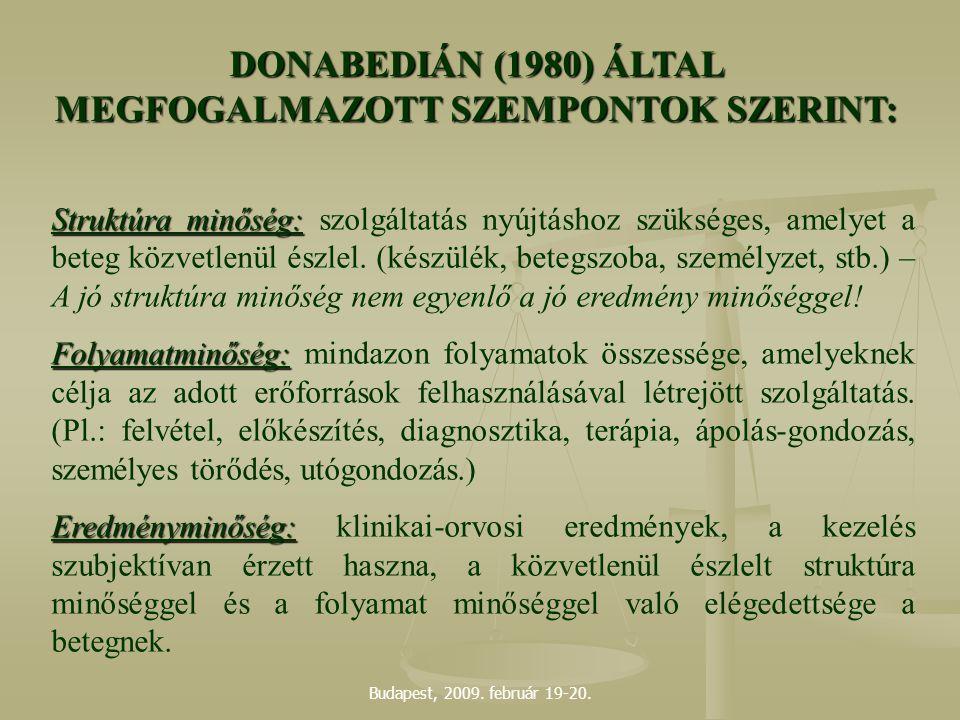 DONABEDIÁN (1980) ÁLTAL MEGFOGALMAZOTT SZEMPONTOK SZERINT: