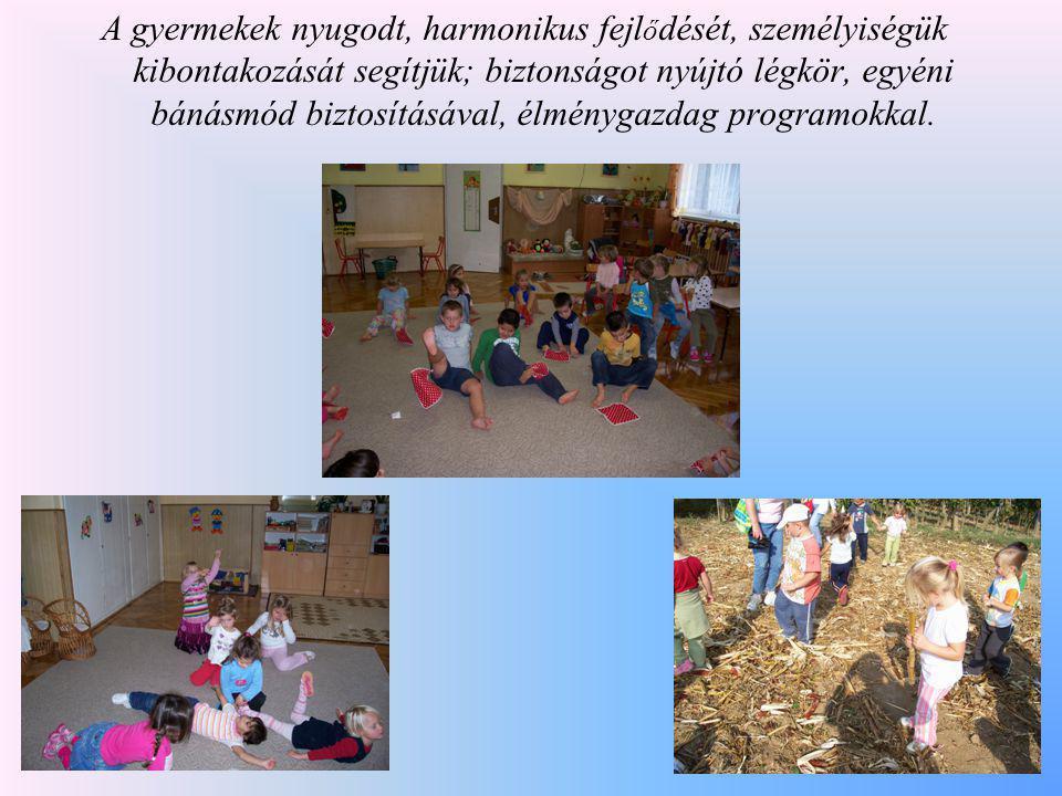 A gyermekek nyugodt, harmonikus fejlődését, személyiségük kibontakozását segítjük; biztonságot nyújtó légkör, egyéni bánásmód biztosításával, élménygazdag programokkal.