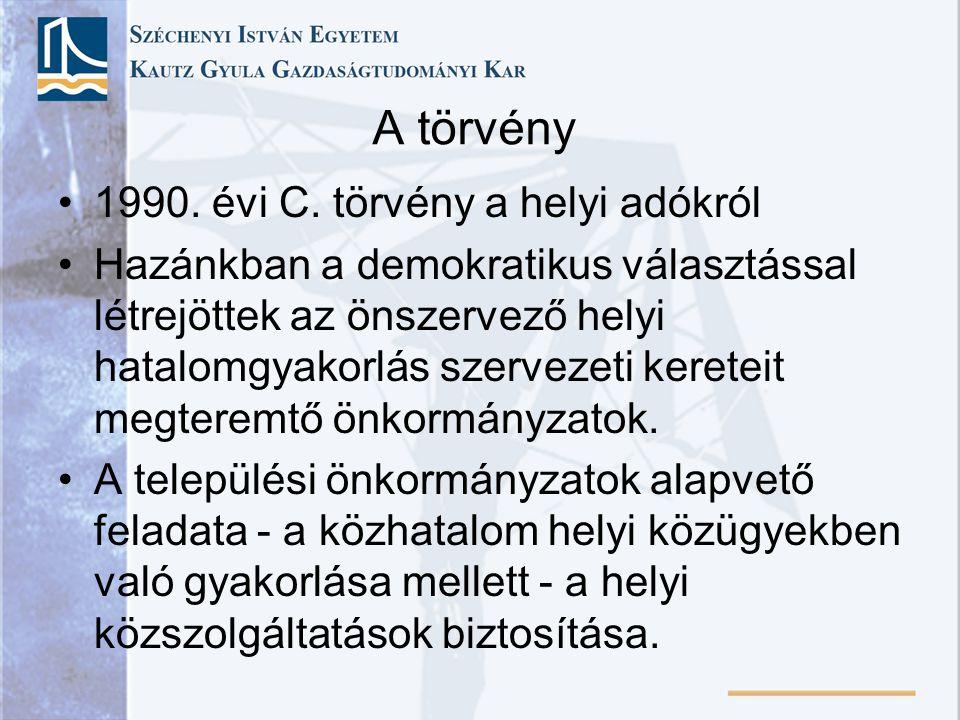 A törvény 1990. évi C. törvény a helyi adókról