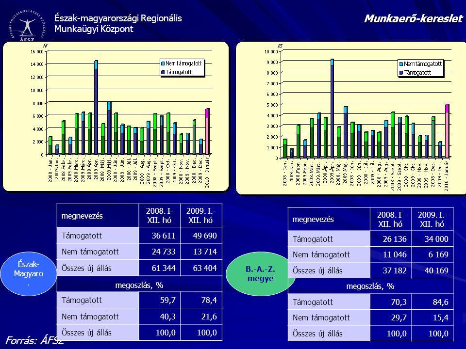 Munkaerő-kereslet Forrás: ÁFSZ megnevezés 2008. I-XII. hó