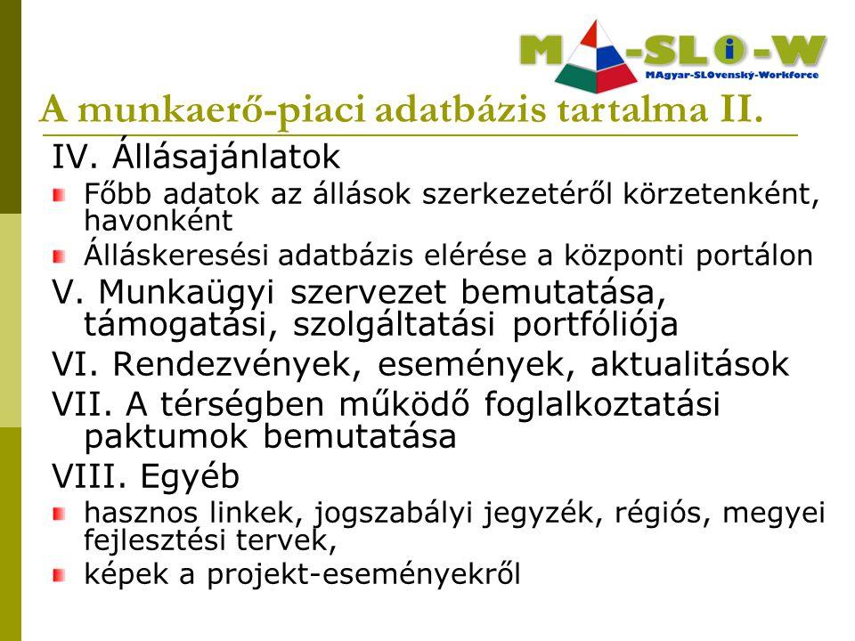 A munkaerő-piaci adatbázis tartalma II.