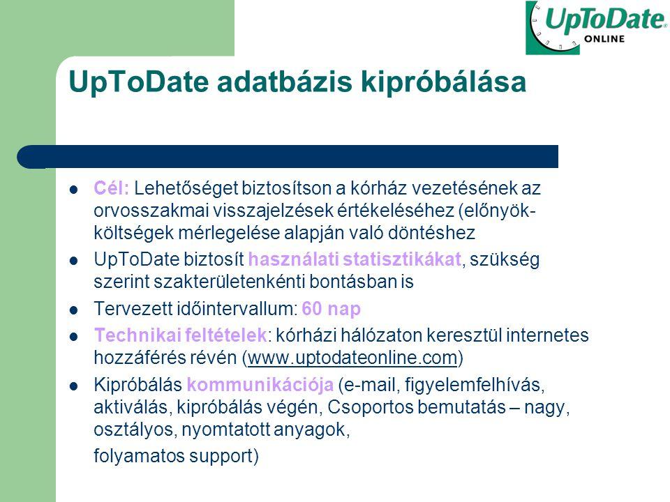 UpToDate adatbázis kipróbálása