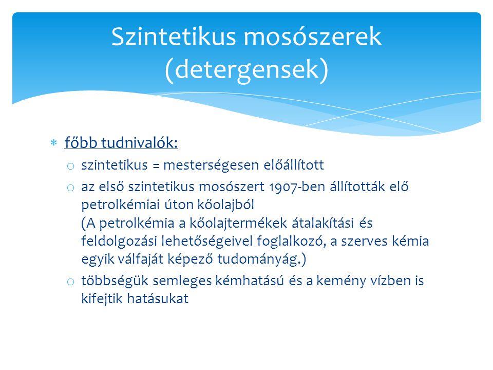 Szintetikus mosószerek (detergensek)