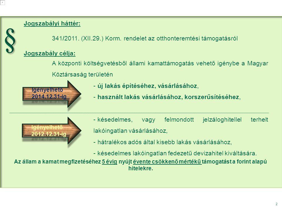 § Jogszabályi háttér: 341/2011. (XII.29.) Korm. rendelet az otthonteremtési támogatásról. Jogszabály célja: