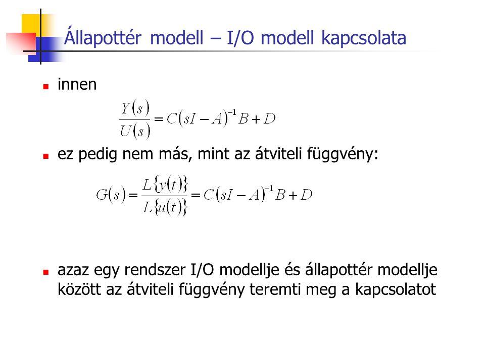 Állapottér modell – I/O modell kapcsolata
