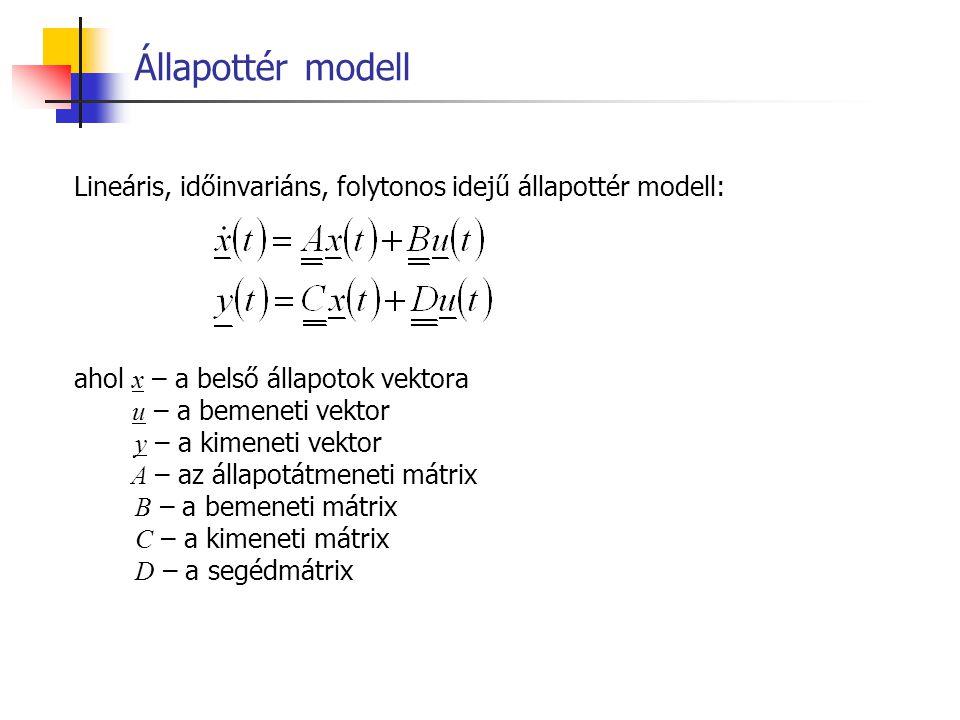 Állapottér modell Lineáris, időinvariáns, folytonos idejű állapottér modell: ahol x – a belső állapotok vektora.