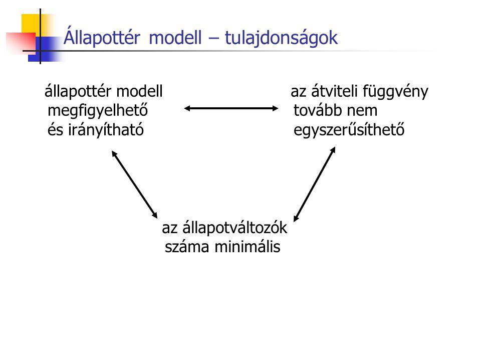 Állapottér modell – tulajdonságok