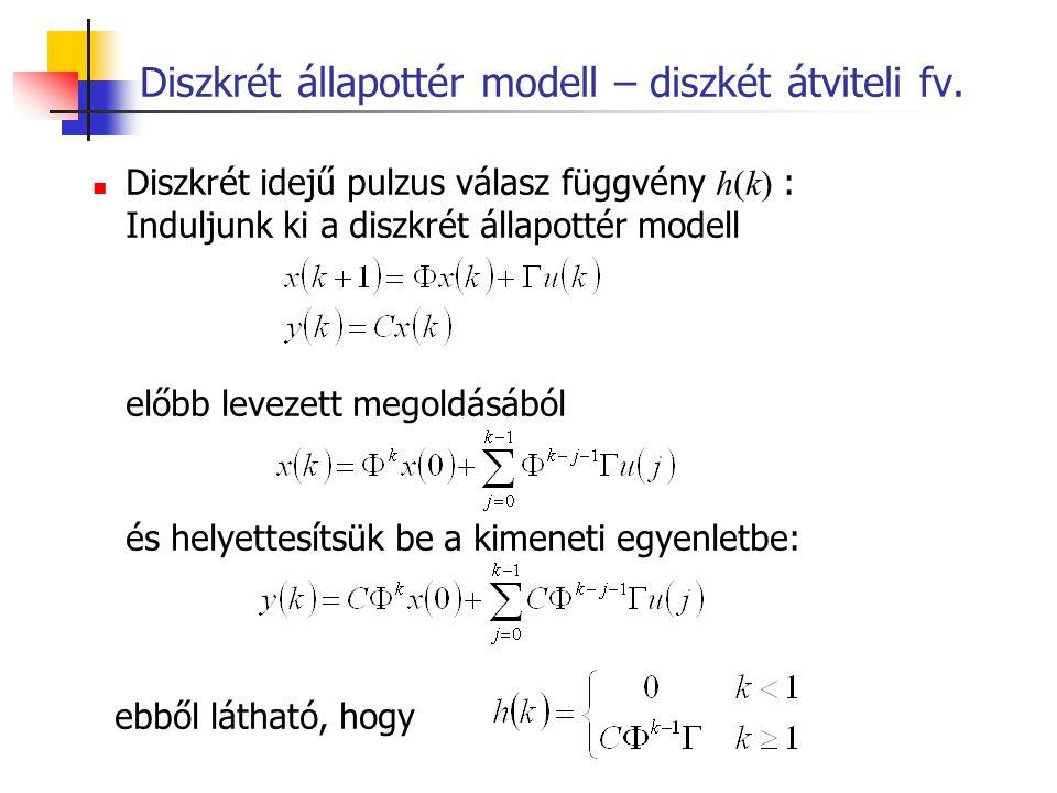 Diszkrét állapottér modell – diszkét átviteli fv.