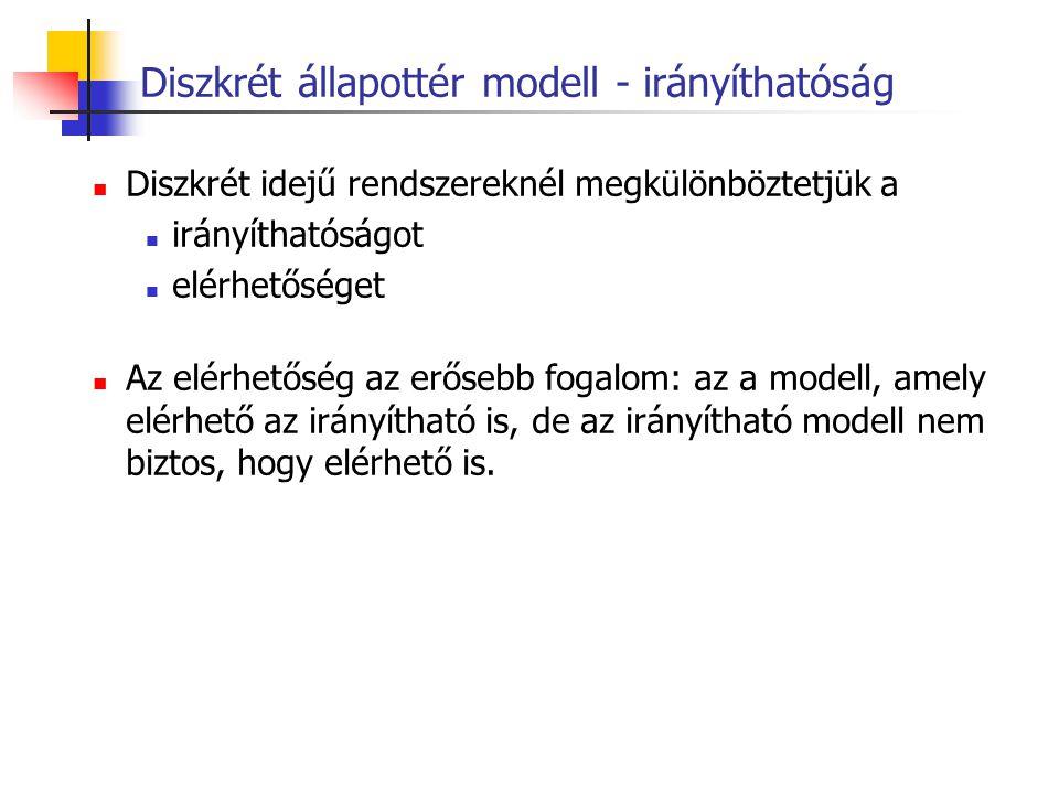 Diszkrét állapottér modell - irányíthatóság