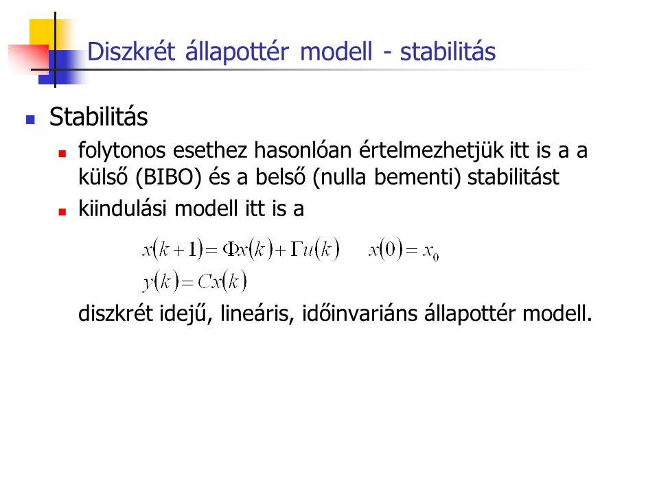 Diszkrét állapottér modell - stabilitás