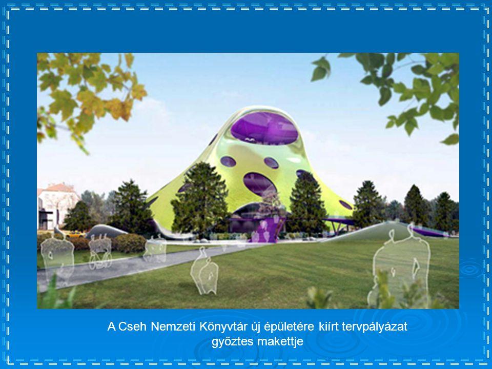 A Cseh Nemzeti Könyvtár új épületére kiírt tervpályázat győztes makettje