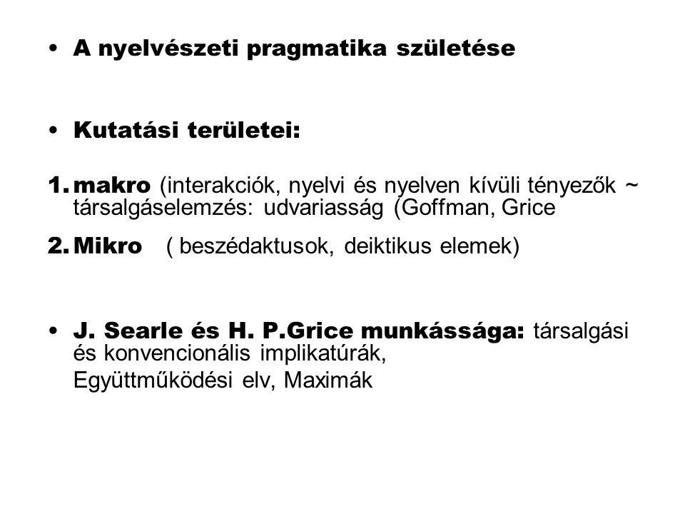 A nyelvészeti pragmatika születése