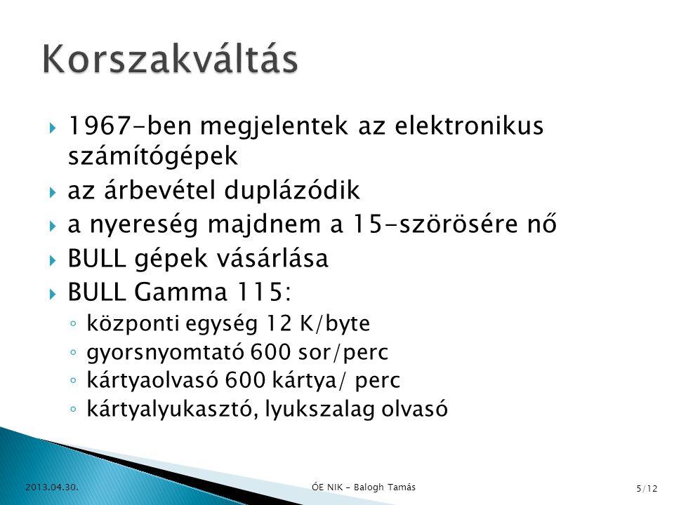 Korszakváltás 1967-ben megjelentek az elektronikus számítógépek