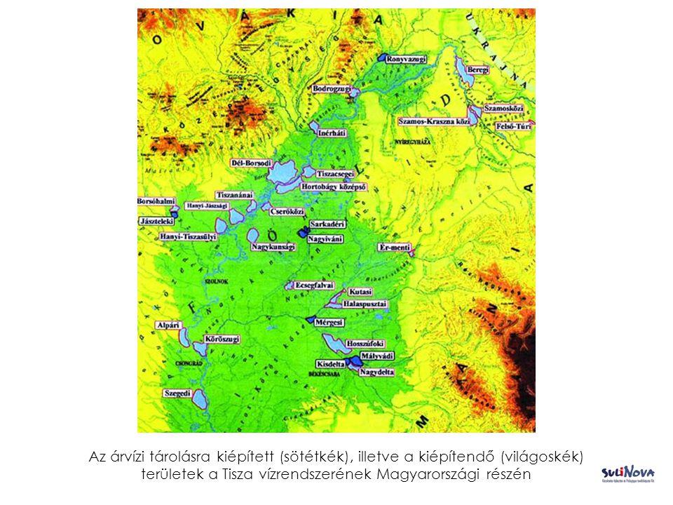Az árvízi tárolásra kiépített (sötétkék), illetve a kiépítendő (világoskék) területek a Tisza vízrendszerének Magyarországi részén
