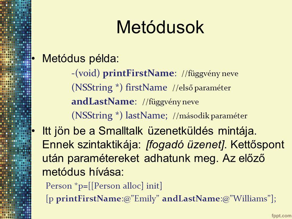 Metódusok Metódus példa: