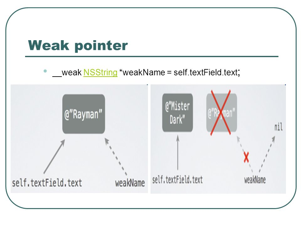 Weak pointer __weak NSString *weakName = self.textField.text;