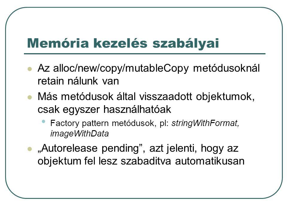 Memória kezelés szabályai