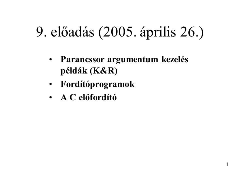9. előadás (2005. április 26.) Parancssor argumentum kezelés példák (K&R) Fordítóprogramok. A C előfordító.