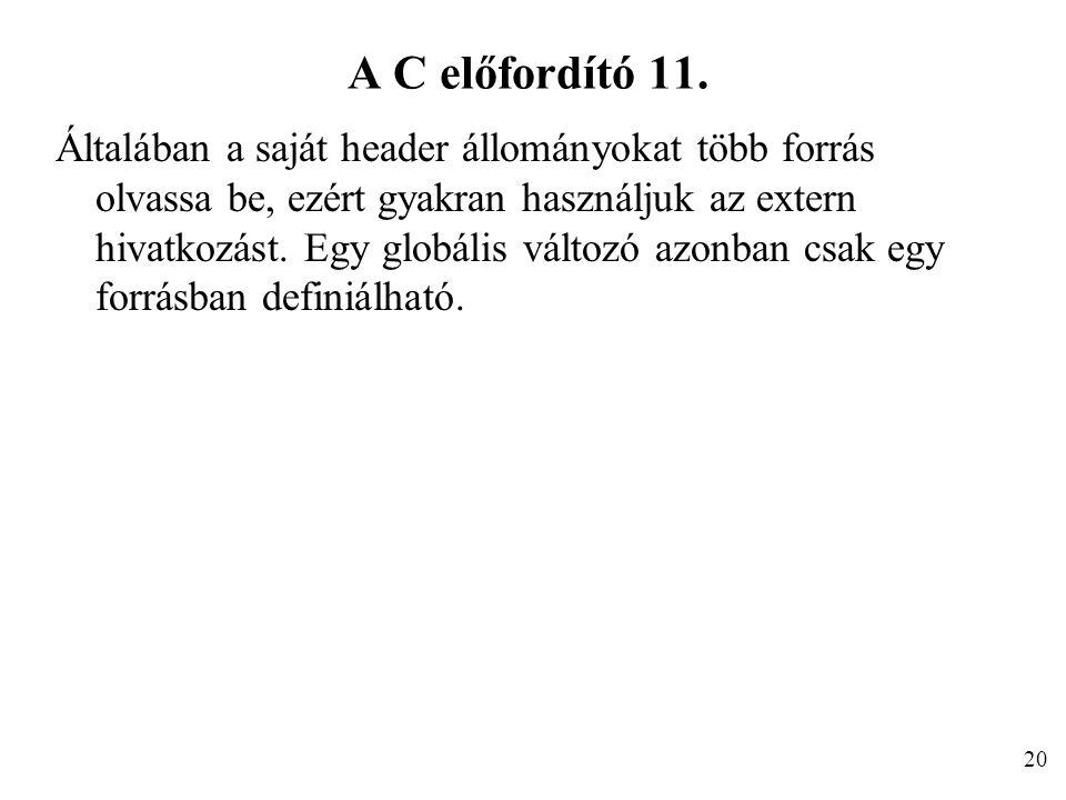 A C előfordító 11.