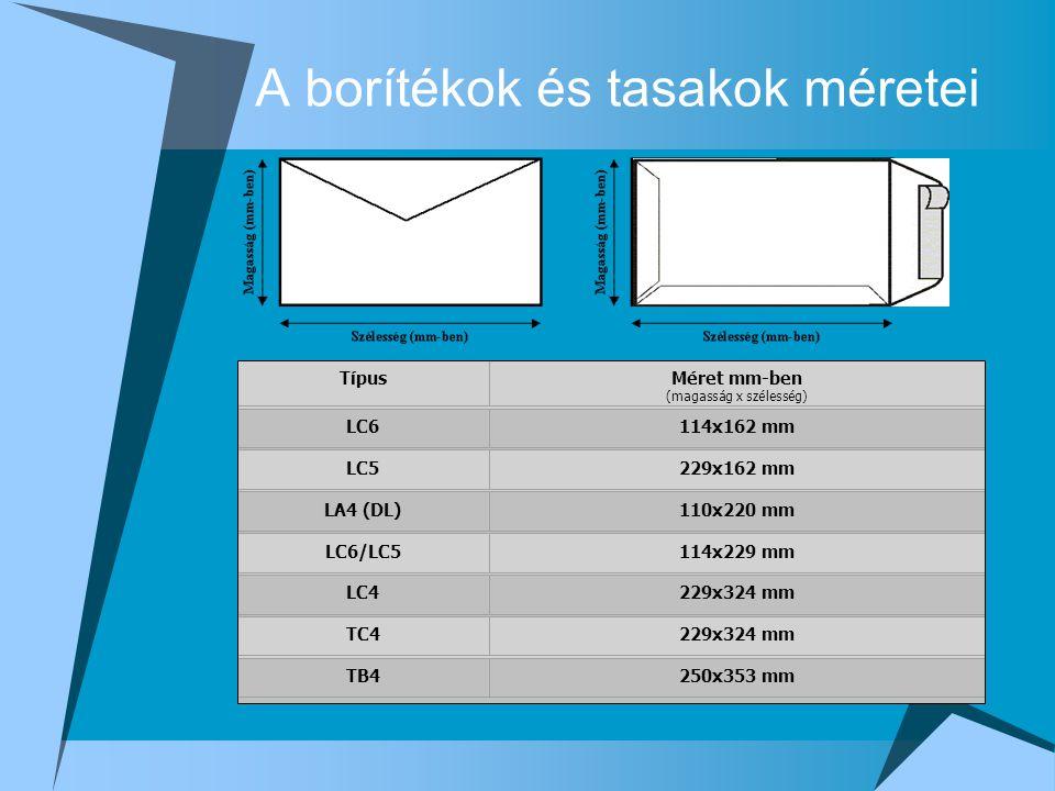 A borítékok és tasakok méretei