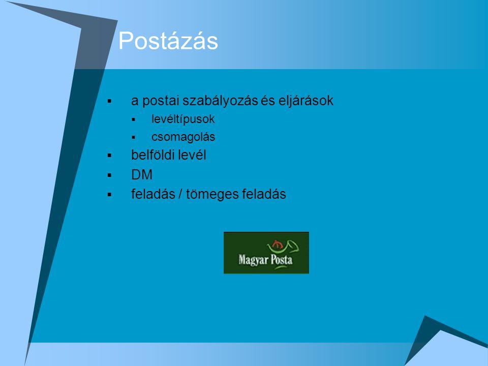 Postázás a postai szabályozás és eljárások belföldi levél DM