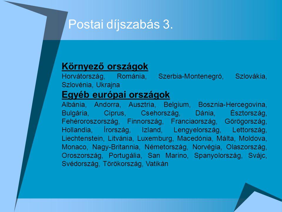 Postai díjszabás 3. Környező országok Egyéb európai országok