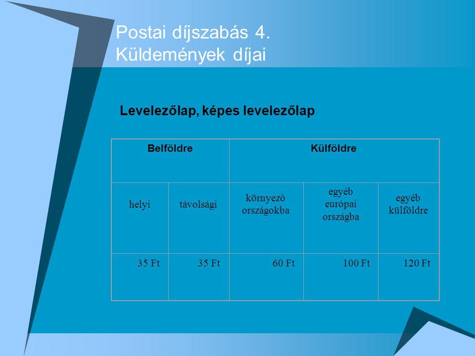 Postai díjszabás 4. Küldemények díjai