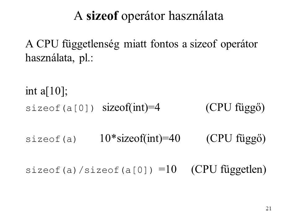 A sizeof operátor használata
