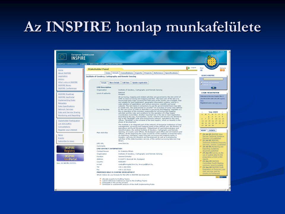 Az INSPIRE honlap munkafelülete