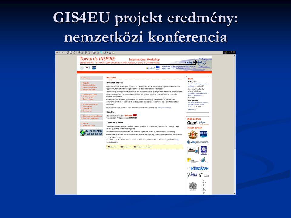 GIS4EU projekt eredmény: nemzetközi konferencia