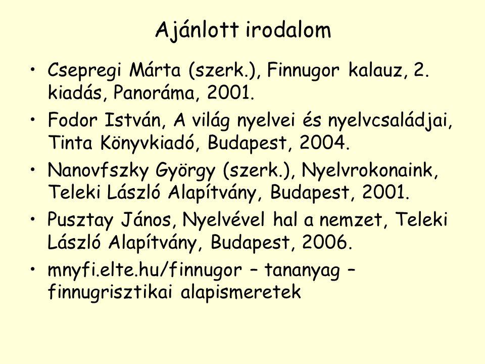 Ajánlott irodalom Csepregi Márta (szerk.), Finnugor kalauz, 2. kiadás, Panoráma, 2001.