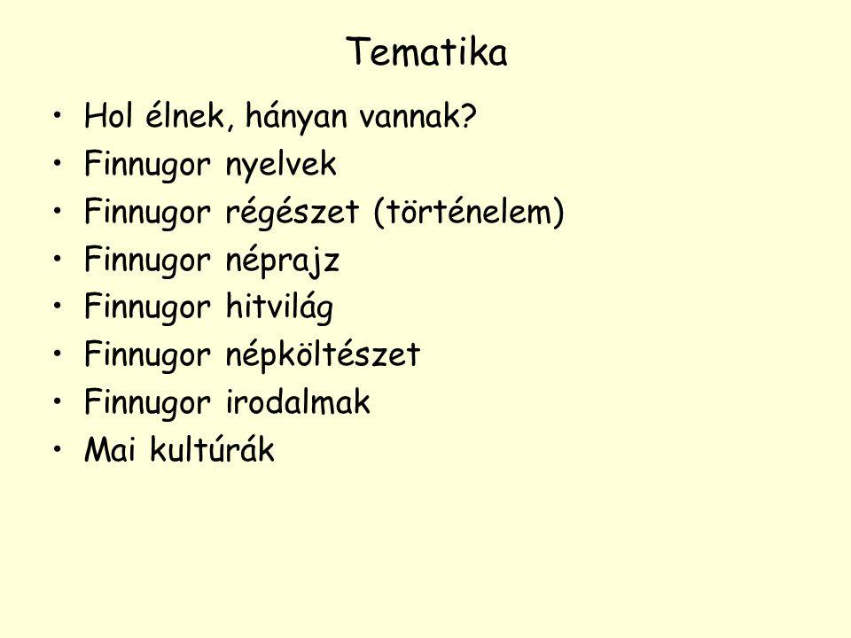 Tematika Hol élnek, hányan vannak Finnugor nyelvek