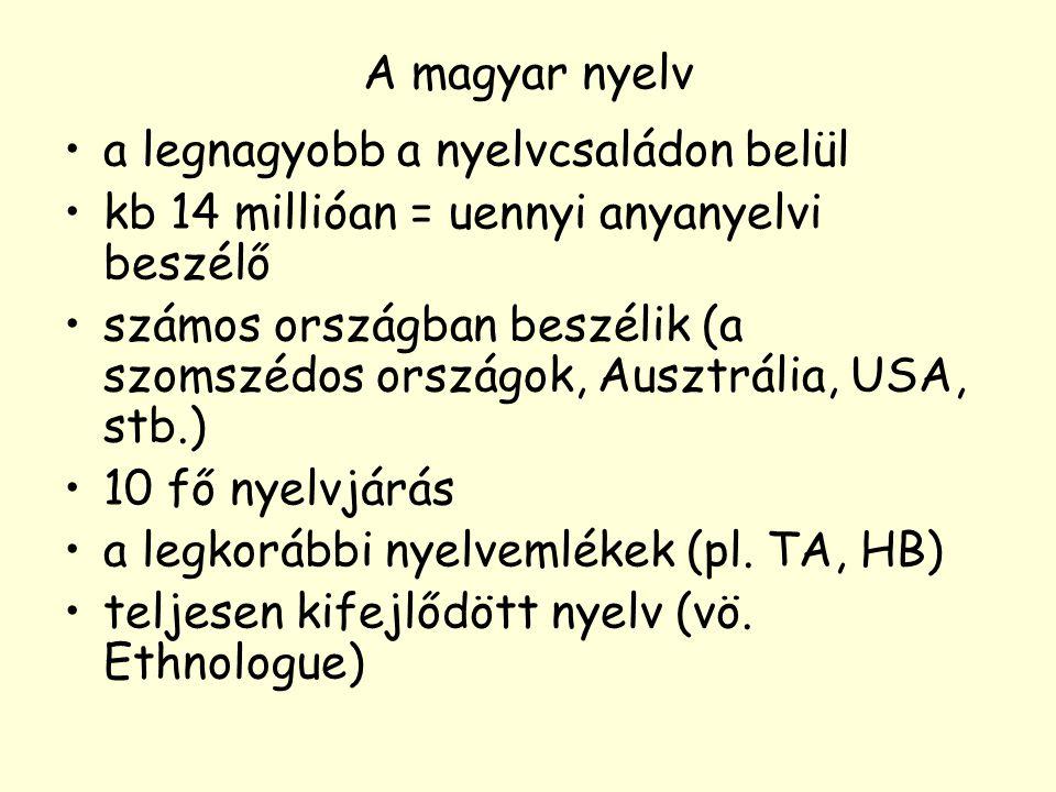 A magyar nyelv a legnagyobb a nyelvcsaládon belül. kb 14 millióan = uennyi anyanyelvi beszélő.