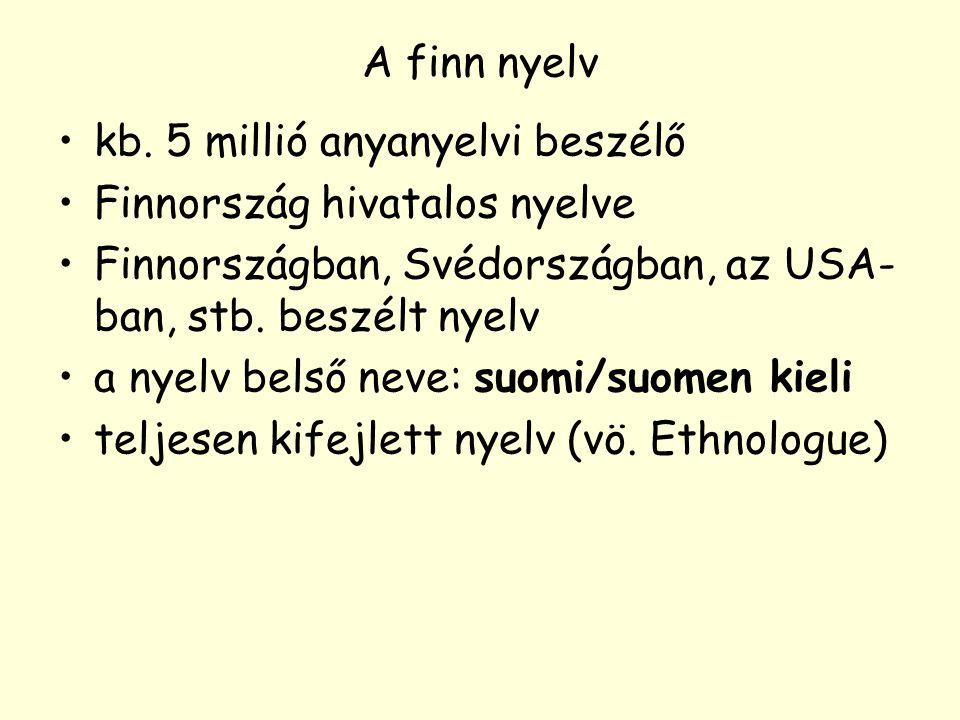 A finn nyelv kb. 5 millió anyanyelvi beszélő. Finnország hivatalos nyelve. Finnországban, Svédországban, az USA-ban, stb. beszélt nyelv.