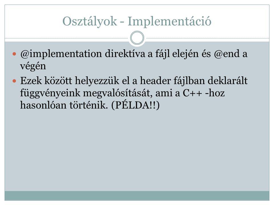 Osztályok - Implementáció