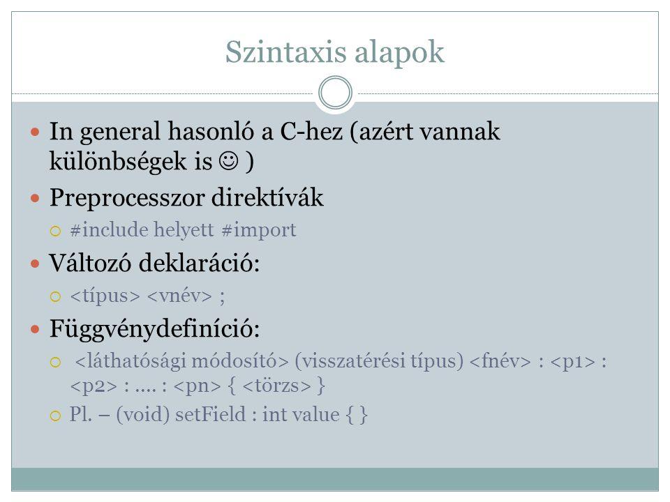 Szintaxis alapok In general hasonló a C-hez (azért vannak különbségek is  ) Preprocesszor direktívák.