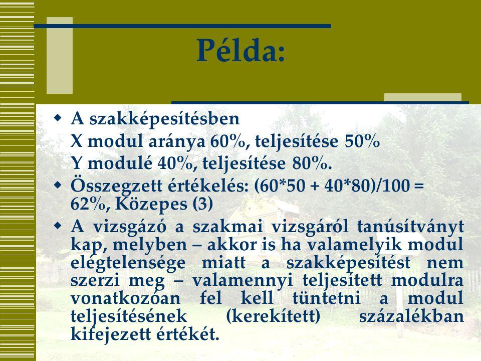 Példa: A szakképesítésben X modul aránya 60%, teljesítése 50%