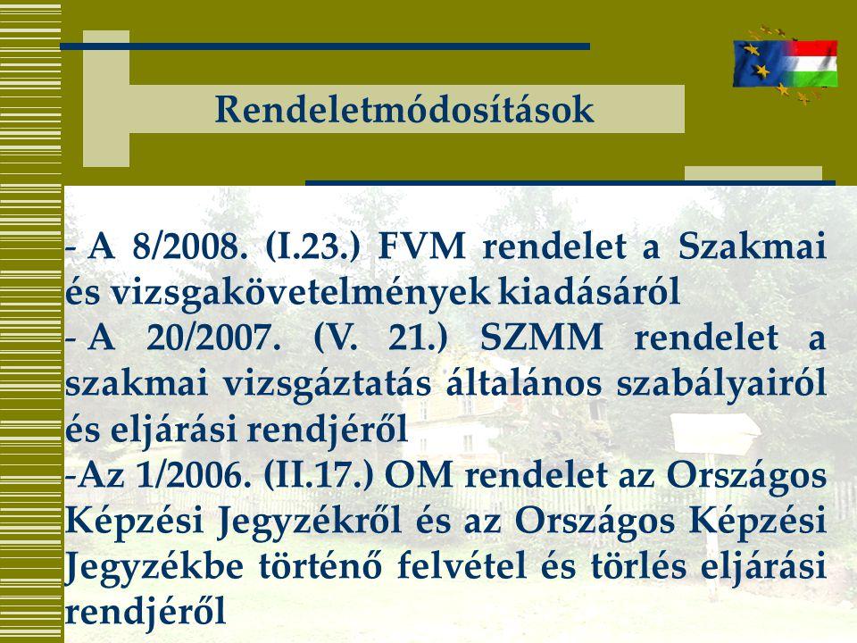 Rendeletmódosítások A 8/2008. (I.23.) FVM rendelet a Szakmai és vizsgakövetelmények kiadásáról.