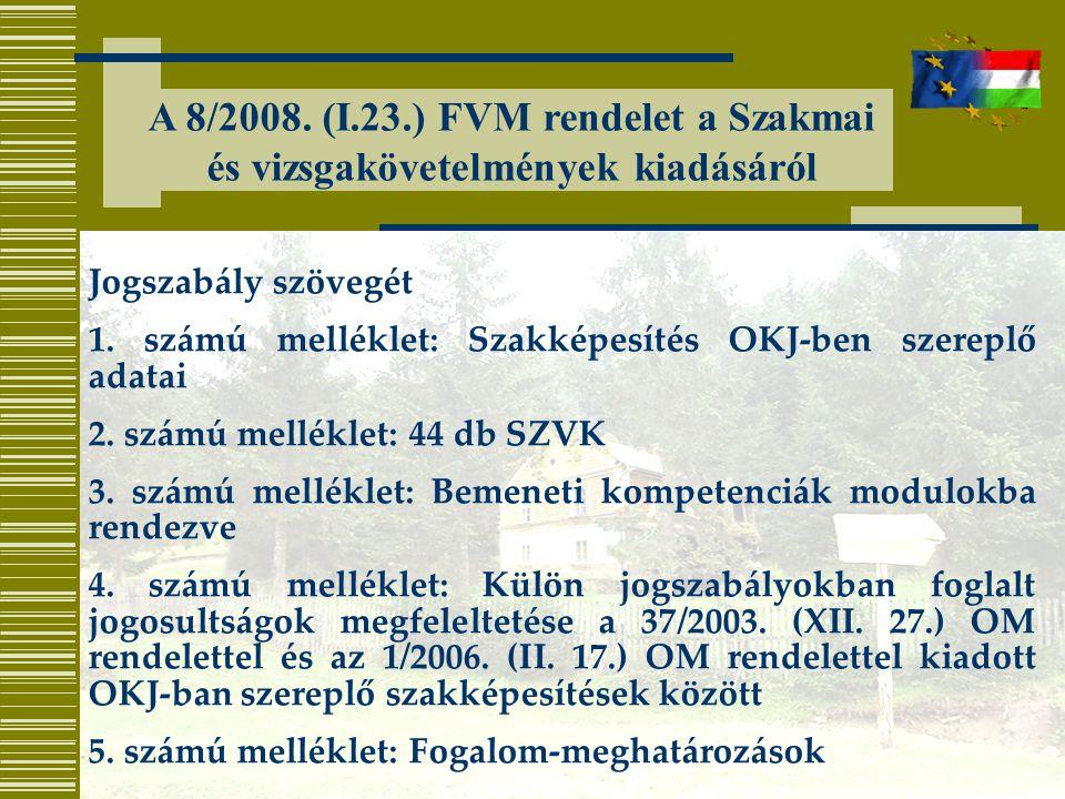 A 8/2008. (I.23.) FVM rendelet a Szakmai és vizsgakövetelmények kiadásáról