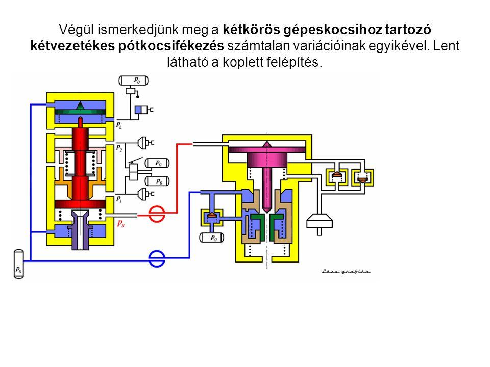 Végül ismerkedjünk meg a kétkörös gépeskocsihoz tartozó kétvezetékes pótkocsifékezés számtalan variációinak egyikével.