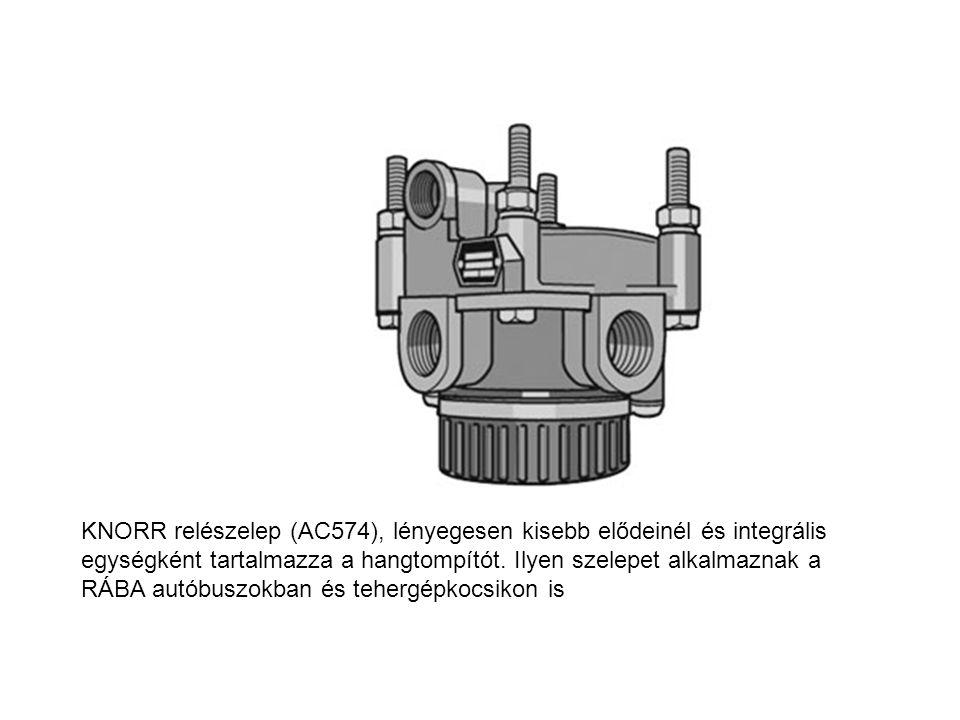 KNORR relészelep (AC574), lényegesen kisebb elődeinél és integrális egységként tartalmazza a hangtompítót.
