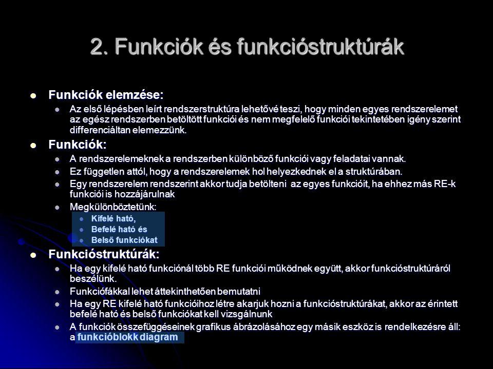 2. Funkciók és funkcióstruktúrák