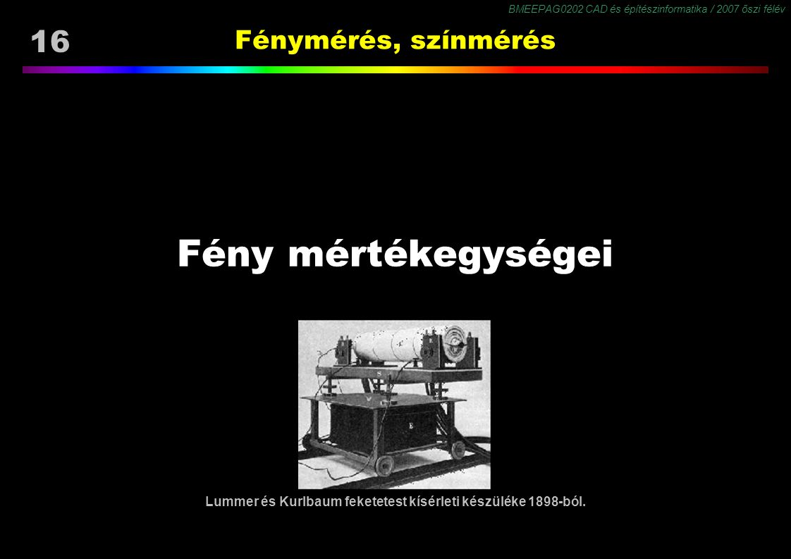 Lummer és Kurlbaum feketetest kísérleti készüléke 1898-ból.