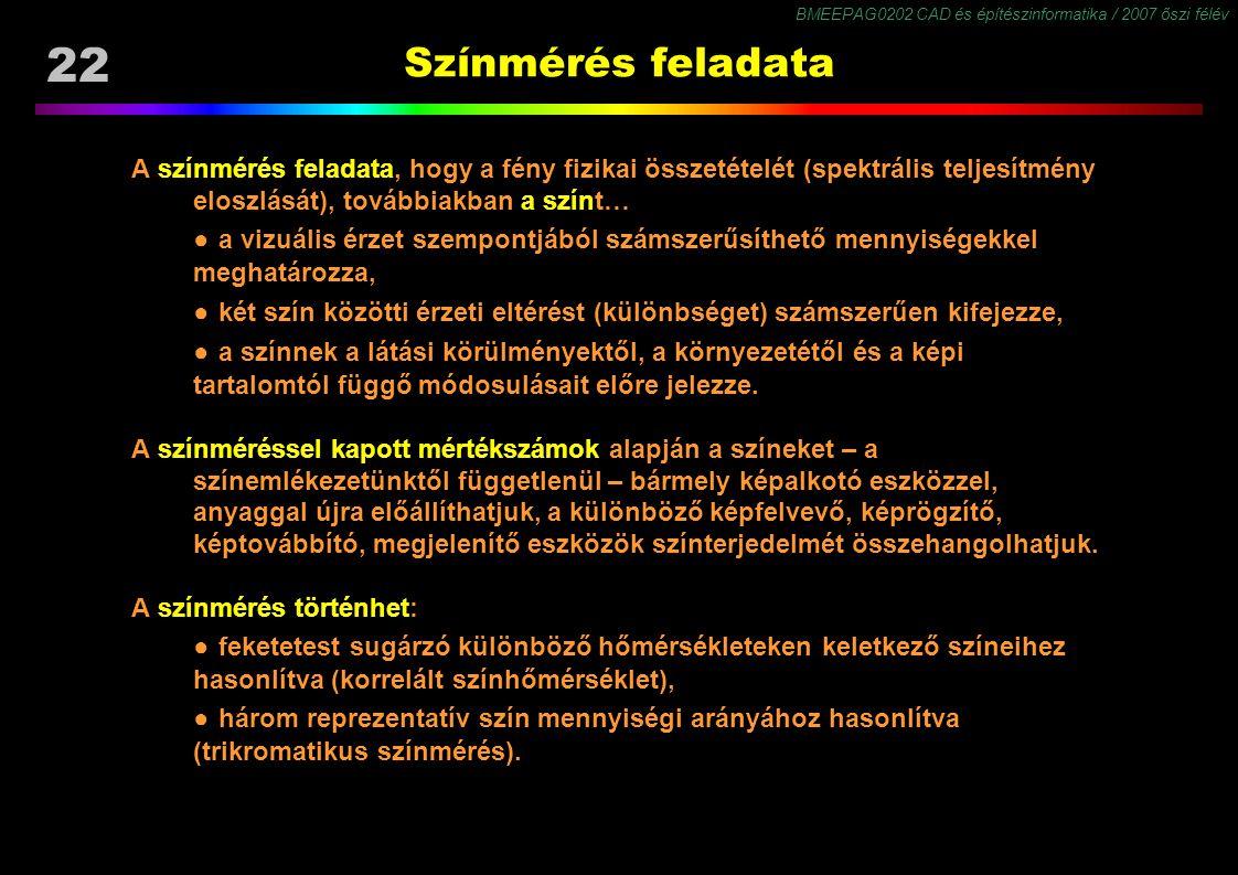 Színmérés feladata A színmérés feladata, hogy a fény fizikai összetételét (spektrális teljesítmény eloszlását), továbbiakban a színt…