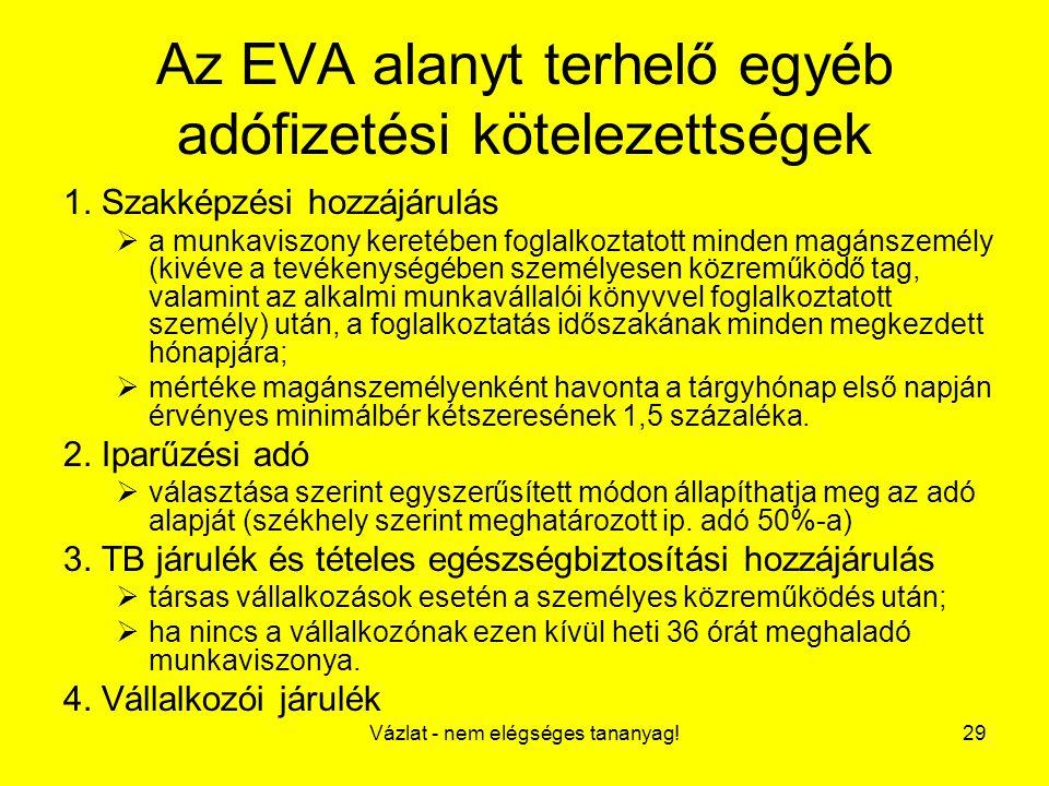Az EVA alanyt terhelő egyéb adófizetési kötelezettségek