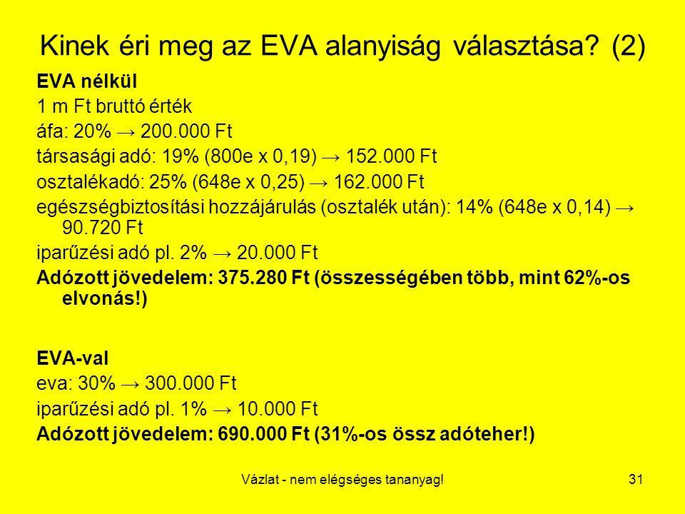 Kinek éri meg az EVA alanyiság választása (2)