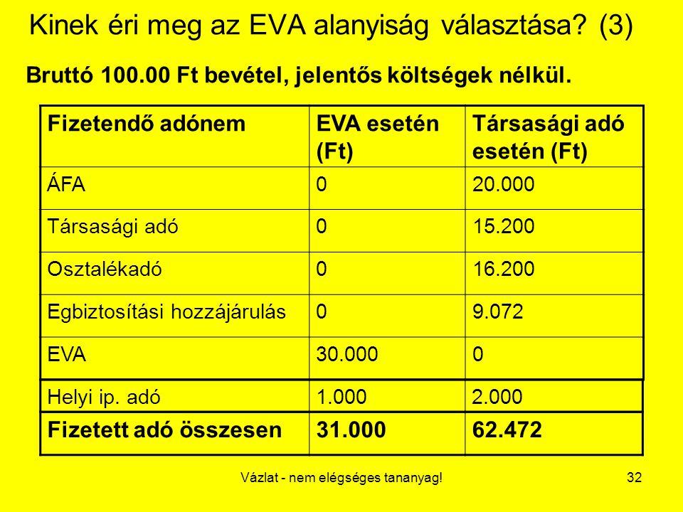 Kinek éri meg az EVA alanyiság választása (3)